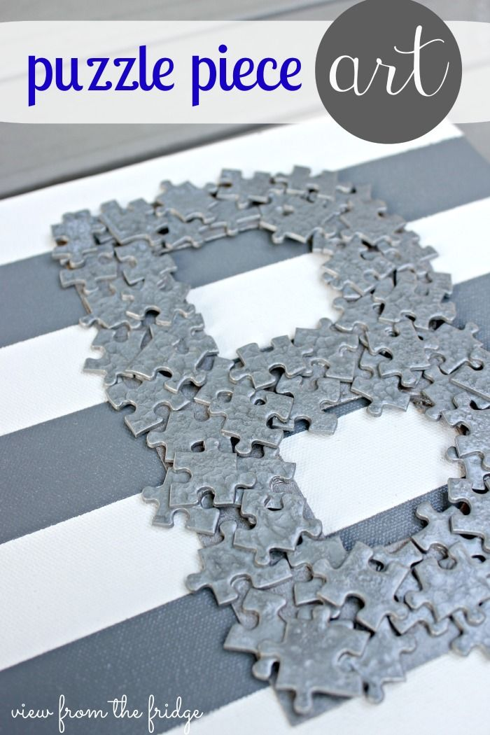 Puzzle Piece Monogram Art .  Kid Friendly and Fun! Great upcycle project! |  View From The Fridge