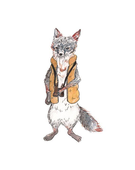 Woodland crèche de l'art, art camping, aquarelle de renard, woodland art animalier, art fan fantastic mr. fox, aventure art, chambre d'enfant renard