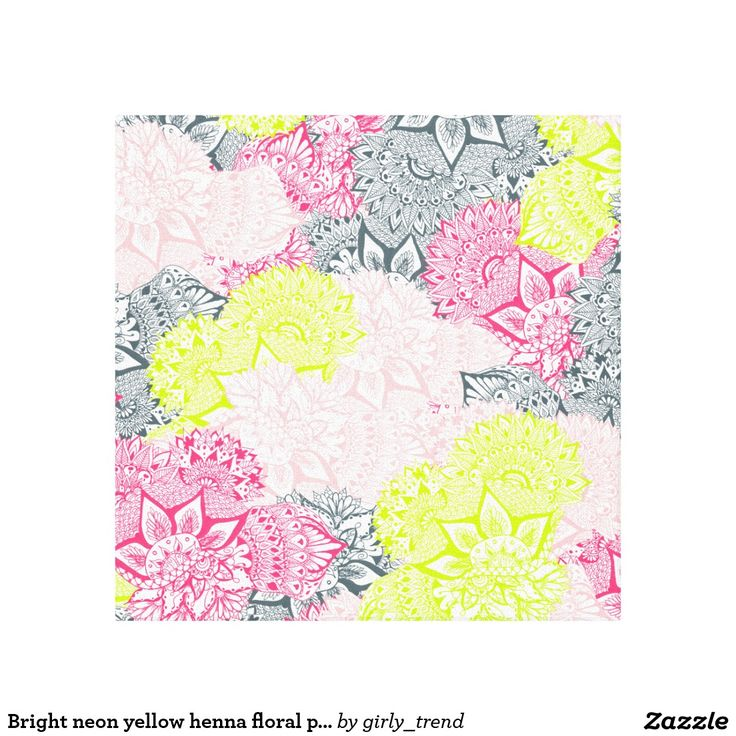 Bright neon yellow henna floral paisley pattern canvas print