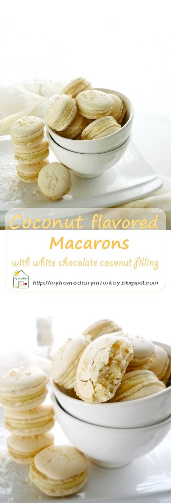 This coconut flavor macarons is happen part of my flavor journey on macarons making #coconutmacarons #macaronstipsandhow #macaronsrecipe #cookies #sandwichcookies #coconut #whitechocolatefilling #citrashomediary