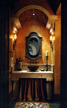 Powder Room - side sconces, mirror, tile backsplash / #OldWorld #Tuscan #ItalianVilla on houzz.com