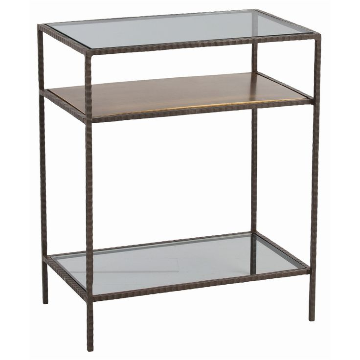 Glass Table With Shelf Part - 37: ARTERIORS - Sinclair Side Table H: W: D: Hammered Iron Side Table With  Oxidized Brass Surface Between Clear Glass Top And Bottom Shelf.