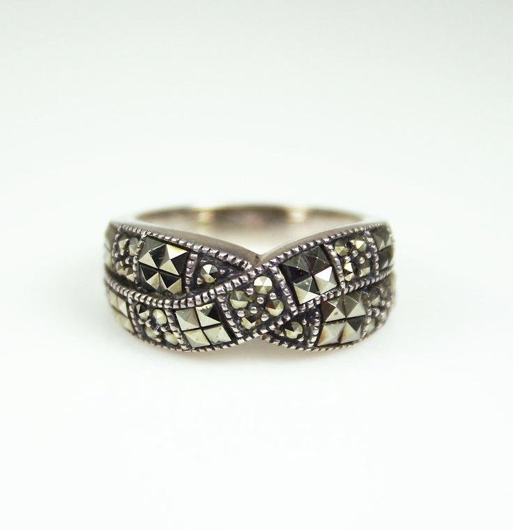 Vintage Judith Jack Sterling Marcasite Ring.