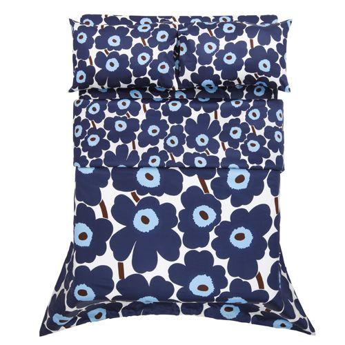 Marimekko Unikko Blue Sateen Bedding