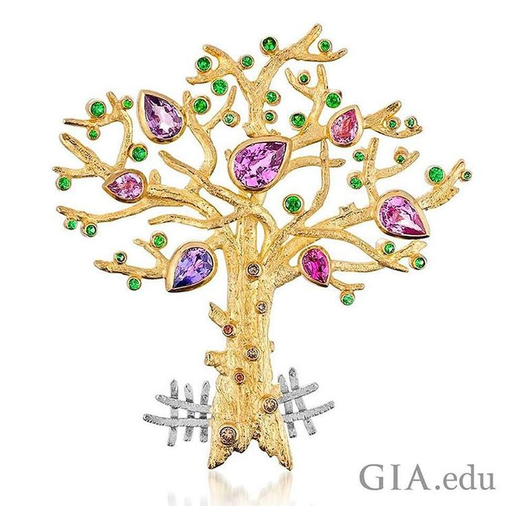 Today is #ArborDay! Celebrate the beauty and splendor of trees with this award-winning 18K yellow and white gold tree brooch. Courtesy: Cornelia Goldsmith 🌳
