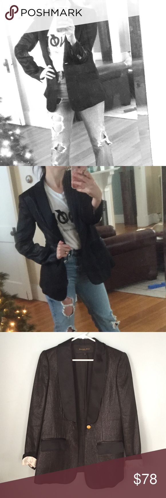 Rachel Roy Black tux blazer Ever-so-slightly sparkly black jacket has satin lapels and gold buttons. Dress it up or down! By Rachel Roy Signature Collection. Rachel Roy Jackets & Coats Blazers