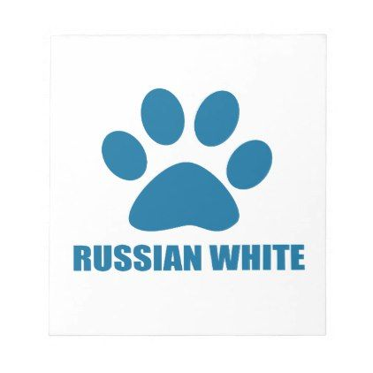 RUSSIAN WHITE CAT DESIGNS NOTEPAD - cat cats kitten kitty pet love pussy