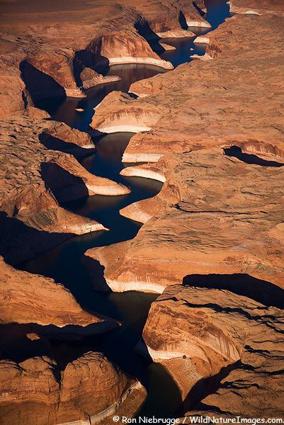 Aerial view of Moqui Canyon, Lake Powell and the Glen Canyon National Recreation Area, Utah