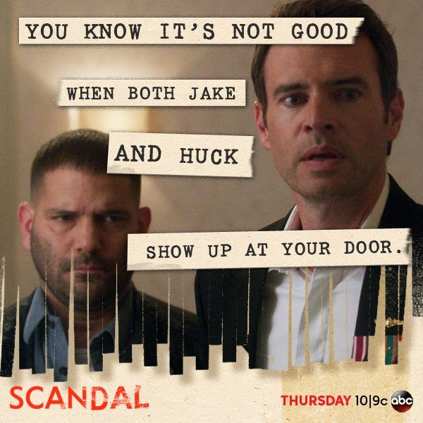 "SCANDAL TV Series on ABC  [2013/10]   - ""You know it's not good when both Jake & Huck show up at your door"".   [episode:  More Cattle, Less Bull] [Olivia Pope]  https://www.facebook.com/photo.php?fbid=717086358321149&set=a.360031497359972.98058.212455292117594&type=1&relevant_count=1&ref=nf"