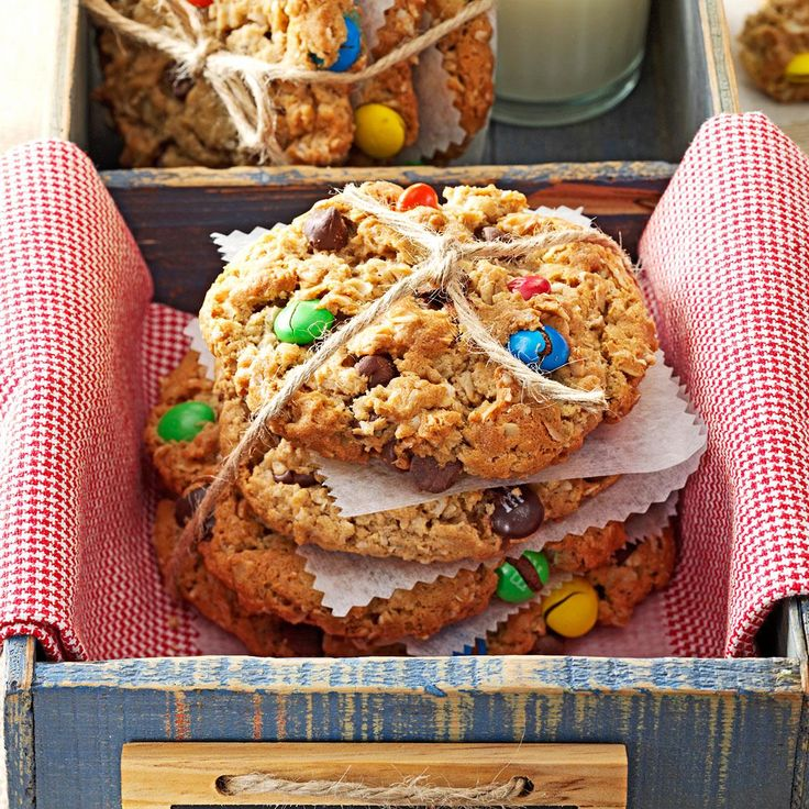Giant Monster Cookies Recipe -Who can resist a gigantic cookie chock-full of goodies like chocolate chips, M&M's and peanut butter? If your appetite isn't quite monster-size, make them by heaping tablespoonfuls. —Judy Fredenberg, Missoula, Montana