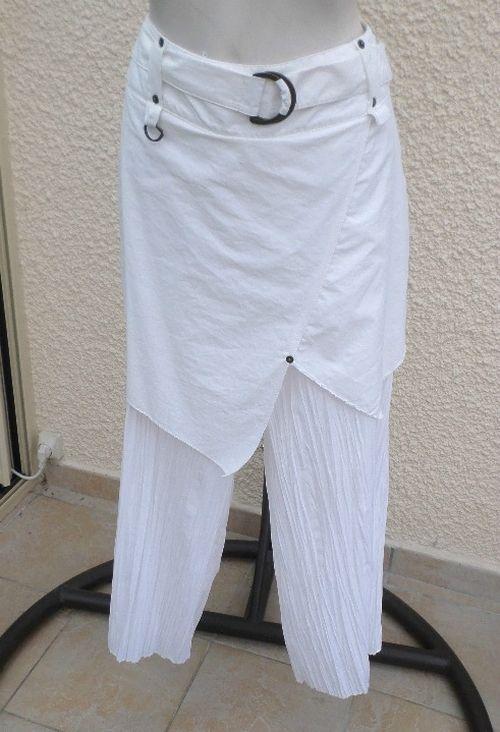 Pantacourt Tissu Froissé Jupe Asymétrique Superposée Blanc Fas Taille 40