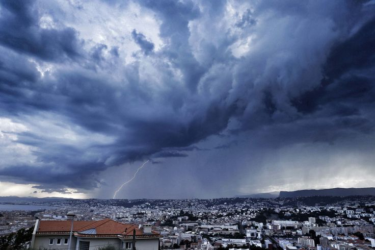 NICE, FRANCE.  An approaching storm looms over Nice, France on June 15, 2015.