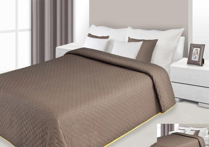 Tmavohnědý oboustranný přehoz na postel s prošívaným vzorem