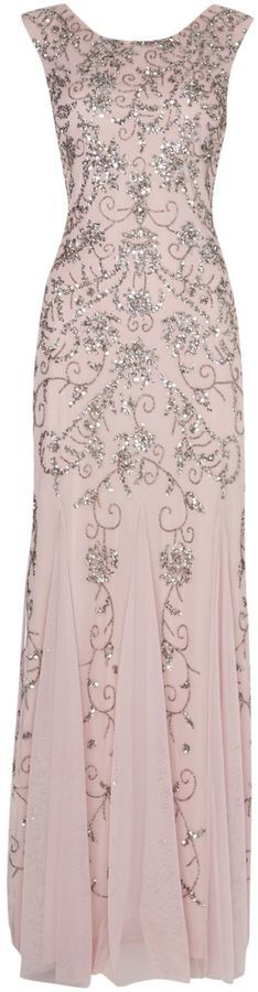 Adrianna Papell Brocade beaded sequin gown
