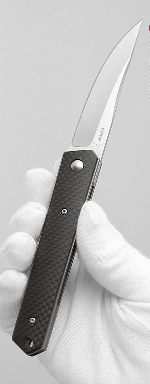 Boker Plus Mini Kwaiken Carbon Fiber EDC Flipper Folding Pocket Knife Blade