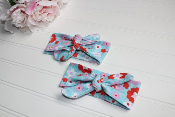 Baby Knot Headband Blue Floral Knit Baby by TAYLORHARTDESIGNS
