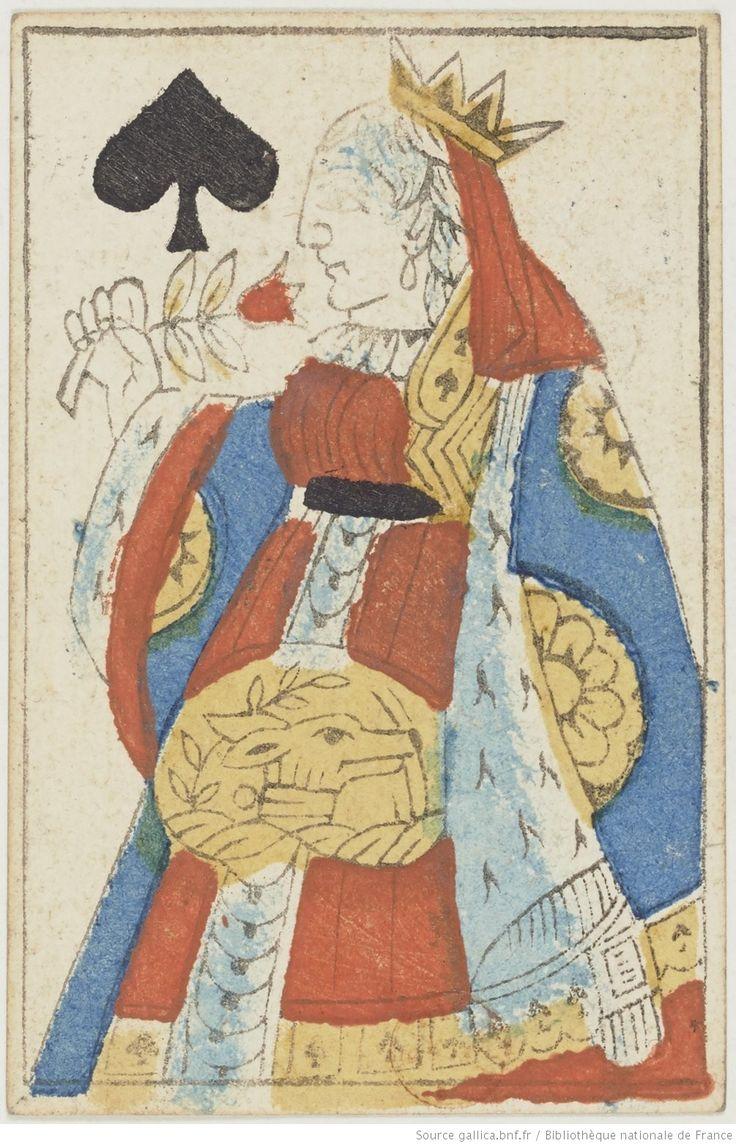 [Cartes de pique au portrait de Paris remployées comme fiches de dictionnaire] : [jeu de cartes, estampe] -- 1750-1789 -- images