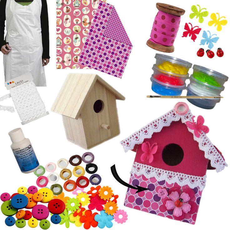 een vogelhuisje maken met een knutselpakket van Suus kinderfeestjes.