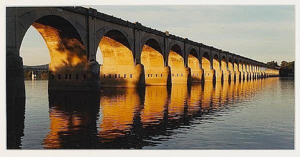 John Pfahl, Morning light on railroad viaduct,Harrisburg