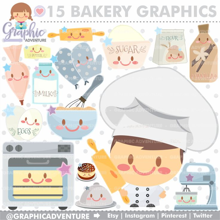 75%OFF - Bakery Clipart, Bakery Graphics, COMMERCIAL USE, Kawaii Clipart, Pastry Graphics, Chef Clipart, Chef Graphics, Planner Accessories