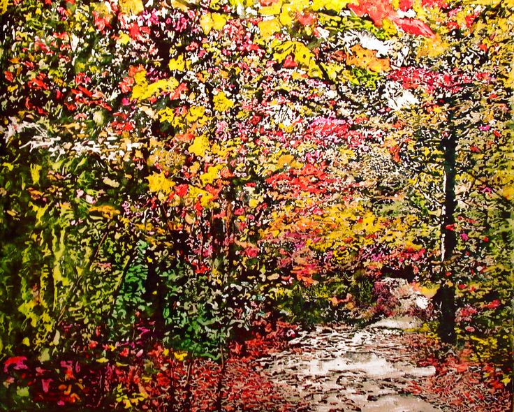"road thru fall 18 24"" x 30"" micheal zarowsky mixed media (watercolour / acrylic painted directly on gessoed birch panel) / private collection"