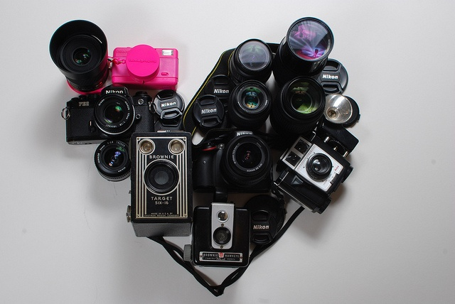 I Heart Camera's   photographed by Rob Albright  #Rob_Albright #camera #nikon #lomography #heart