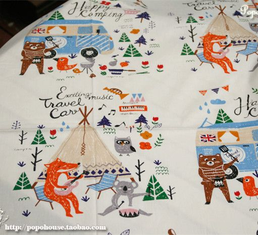 160cm*50cm Fox Picnic fabric cartoon cotton Printed cotton fabric sewing baby clothes kids bedding quilting patchwork tissue