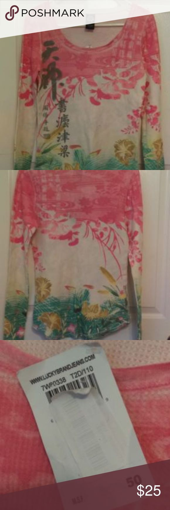 Lucky Brand Asian Inspired Floral Thermal Top Sz L You are buying a Lucky Brand Blouse  Size:Large  CONDITION: no stains, rips or damage.  LOCATION: From a pet free and smoke free home!  SHIPPING: We ship all items within 1 business day of your payment clearing  (excludes weekend and holidays) Lucky Brand Tops Tees - Long Sleeve