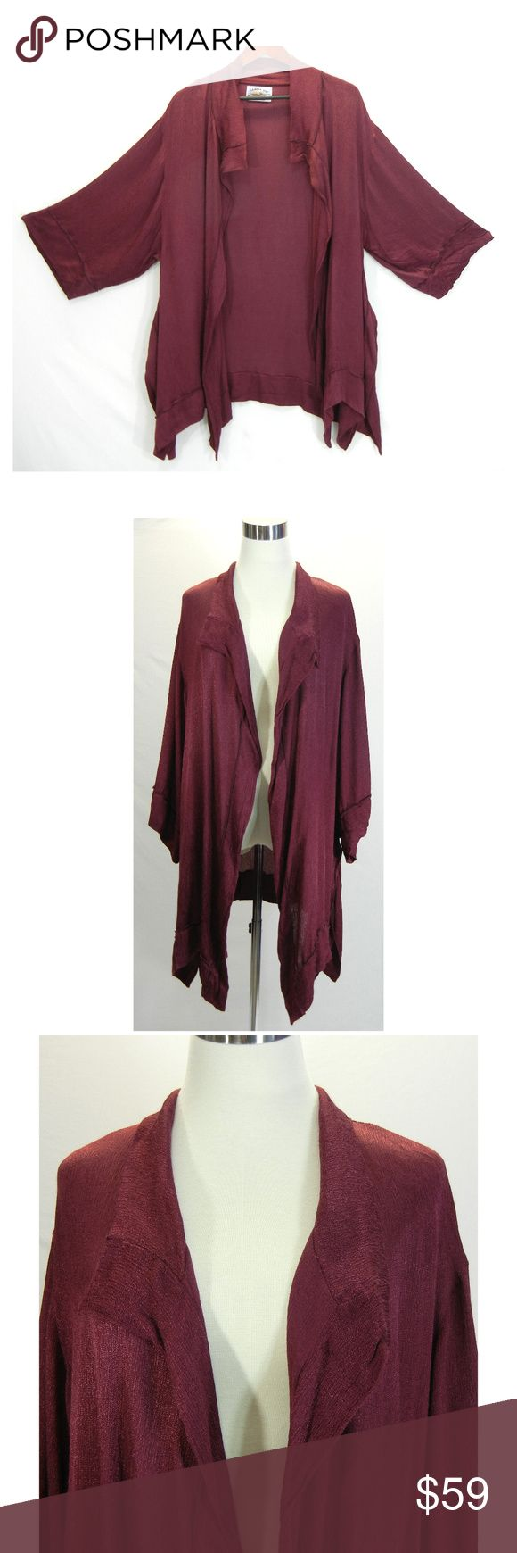 """TIENDA HO Long Jacket OpenFront Boho Asymmetrical Open front jacket by Tienda Ho  Maroon Red Wide sleeves Shiny rayon material Reverse seam detail trim Asymmetrical hem, long side vents 100% rayon Hand wash / Dry clean Tagged size: OS One Size  according to Tienda Ho one sizing fit small to plus sizes Excellent condition, no flaws Please check measurements to determine fit  All measurements are given in full Chest  40"""" Waist  52"""" Hips  54""""  Length  32"""" &  34"""" Tienda Ho Jackets & Coats"""