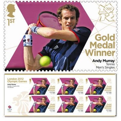 Gold Medal Winner stamp - Andy Murray, Men's Singles, Tennis