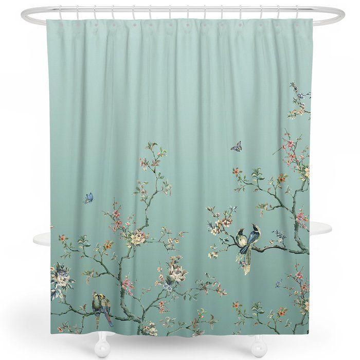 Robinett Flower Birds Single Shower Curtain Hooks Shower