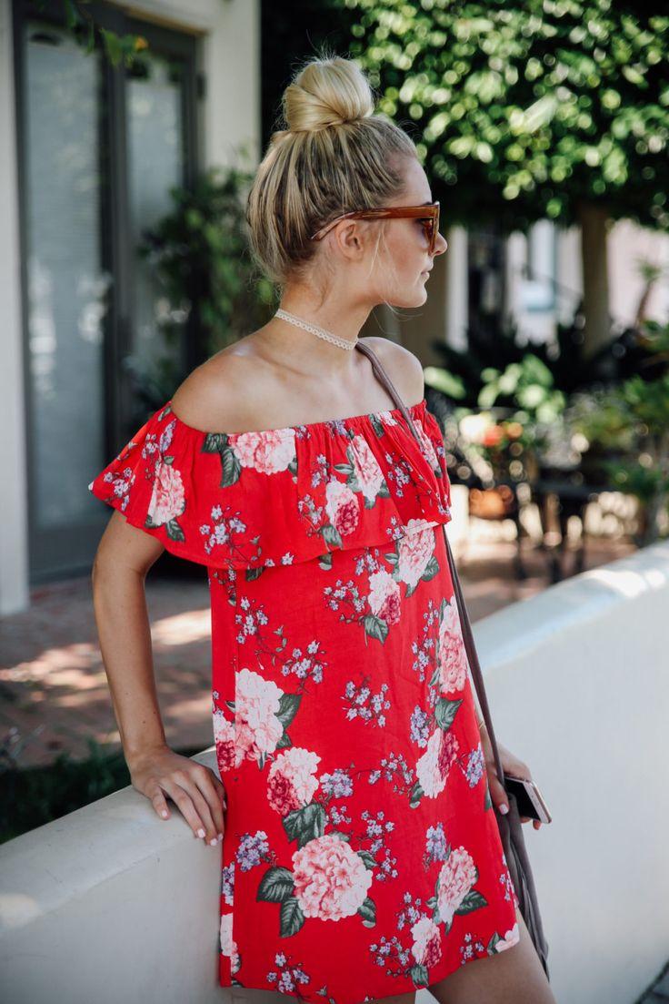 Red floral off-shoulder dress  with <3 from JDzigner www.jdzigner.com