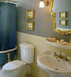 love the bead board combined with the fancier mirror.  Not my style, but cute.: Bathroom Bathroom, Vintage Mirror, Guest Bathroom, Gold Mirror, Beadboard, Upstairs Bathroom, Fancy Bathroom, Pedestal Sink, Blue Bathroom