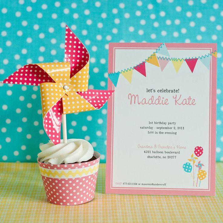 Pinwheels, Pennants and Polka Dots Birthday - Printable Customized Invitation by arpartyprintables on Etsy https://www.etsy.com/listing/130599692/pinwheels-pennants-and-polka-dots