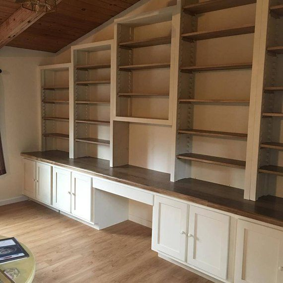 Bookcase Wood Shelving Unit Custom Built Ins Desk Cabinets Adjustable Shelves Book Shelf Stor Wood Shelving Units Build A Closet Home Addition Plans