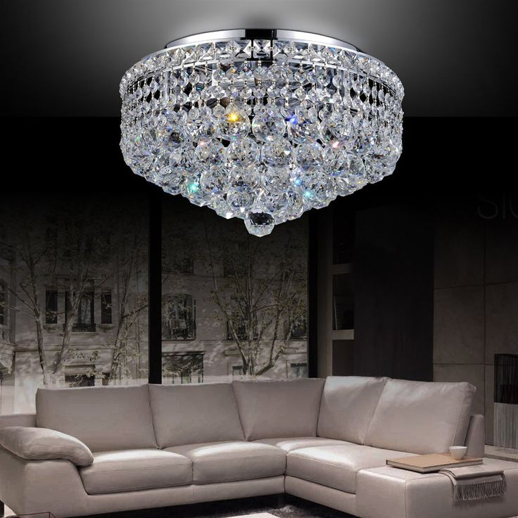 Crystal World Luminous Flush Mount Ceiling Light With Spotless Crystals