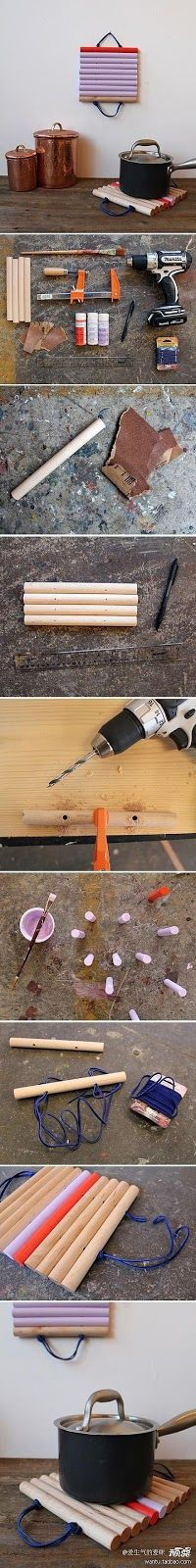 Porta panelas com cabo de vassouras - *Decoração e Invenção*