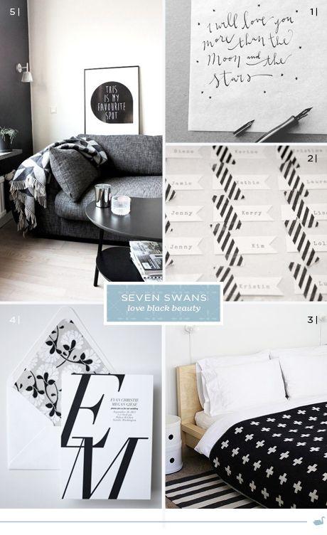 Swans love black | Seven Swans wedding stationery