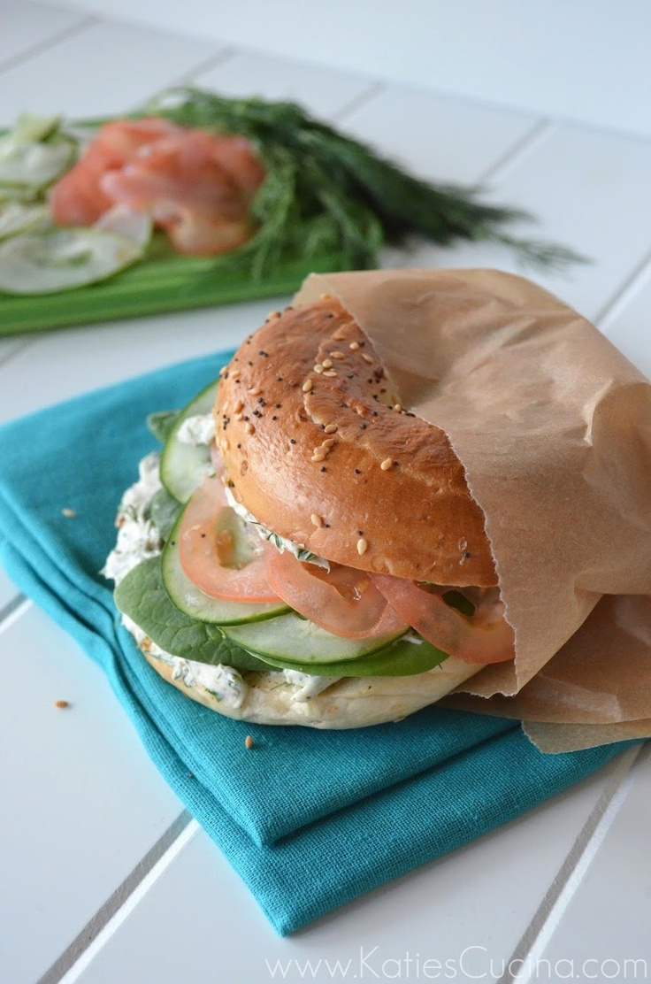 Veggie Bagel Sandwich with Herb and Garlic Cream Cheese: Veggies ...