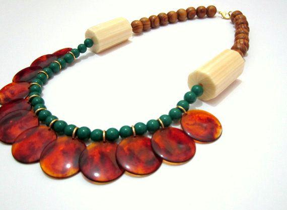 Tortoise Beads Lucite Statement Handmade Cream Wood Necklace