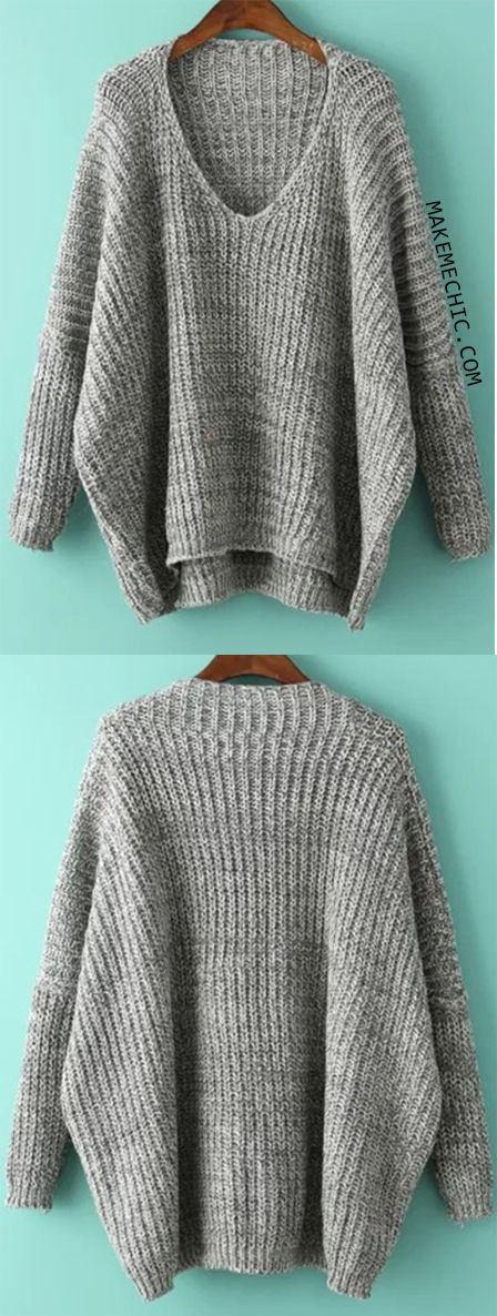V Neck Dolman Grey Sweater