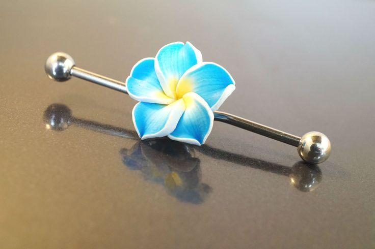 Blue Hawaiian flower industrial bar barbell piercing for your upper ear. Made from 316L surgical steel, the piercing is the same grade steel you would get from a piercing studio. This industrial barbe