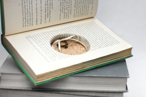 "Hollow Book Wedding Ring Box Handmade Green Vintage Book Recycled ""The Circle Of The Day"" - CUSTOM ORDER"