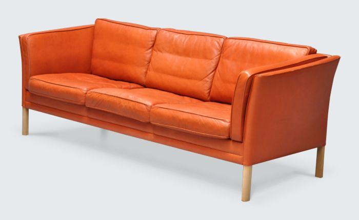 orange leather sofa - Google Search