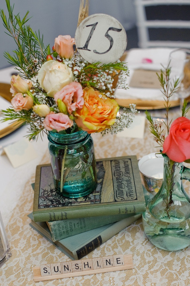 books and mason jar centerpieces: Vintage Books, Peter Photography, Idea, Wedding, Books Centerpieces, Tables Numbers, Mason Jars, Table Numbers, Center Pieces