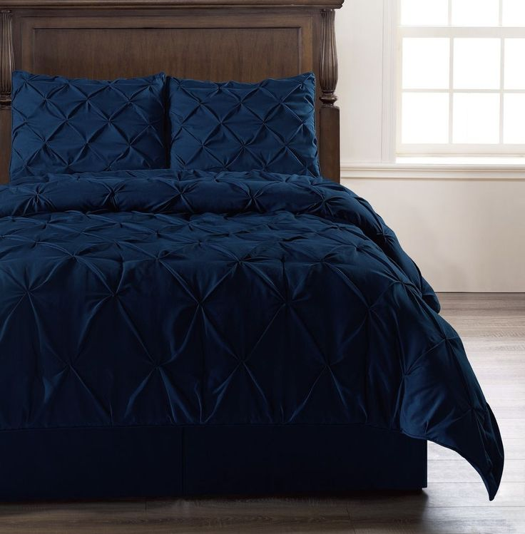 Emerson NAVY BLUE Queen Size Bed Cover 4pc Pinch Pleat Puckering Comforter Set #CozyBeddings #Emerson