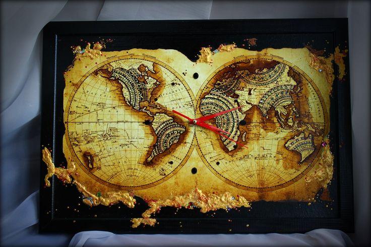 Часы - Древние сокровища. Ручная работа, размер - 48,5см на 33см.