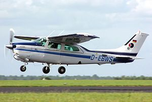 The Cessna 210 Centurion is a six-seat, high-performance, retractable-gear single-engine general aviation aircraft which was first flown in January 1957 and produced by Cessna until 1985