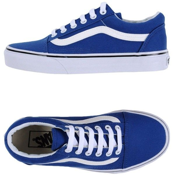 Vans Low-tops & Sneakers (£48) ❤ liked on Polyvore featuring shoes, sneakers, vans, shoes., blue, round toe shoes, low top, low profile sneakers, round toe flat shoes and vans trainers