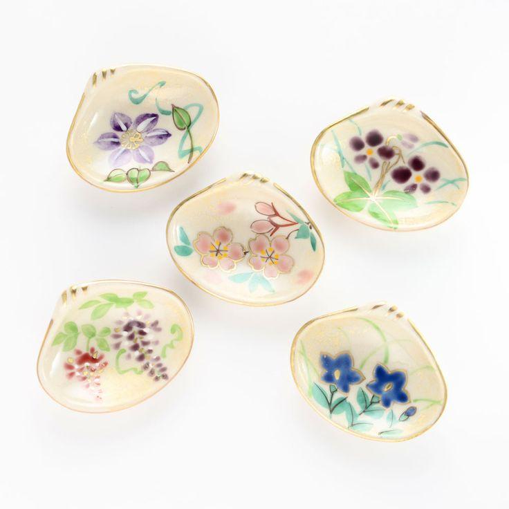 清水焼 四季の花貝形箸置